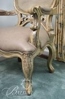 Cane Back Armed Chair with Leather Seat