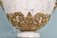 White Stone Urn with Gold Gilt Accents