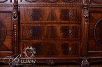 Heavily Carved Flame Mahogany Credenza on Hairy Paw Feet