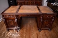 Heavily Carved Partner's Desk with Tooled Leather Top and Hairy Paw Feet