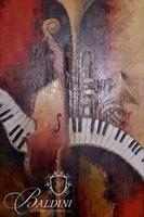 Large Oil on Canvas Giclee of Musical Instruments Keyboard, Cello and Horn