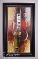 Large Oil on Canvas Giclee of Musical Instruments French Horn and Keyboard