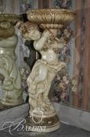 Pair of Pedestal Stands with Cherub Holding Center Bowl
