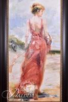 Oil on Canvas Giclee of Lady in Red Dress
