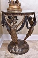 Bronze Base and and Glass Top Art Deco Dancing Women Table