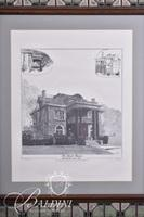 """H. Whitver """"The Schnell Mansion"""" Lithograph, Signed and #339/500 with Tile Bordered Frame"""