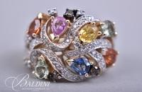 14K Yellow Gold Levian Diamond and Gemstone Ring with Appraisal