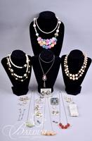 Assorted Costume Jewelry Necklaces with Colored Beads and Earrings
