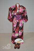 Satin Kimono Robe, Sash, Bow, Shoes, Fan and Drawstring Pouch