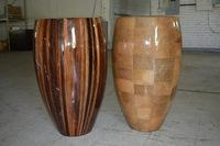 (2) Laminated Contemporary Urns