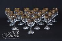 (16) Crystal Stemware with Gold and Silver Bands