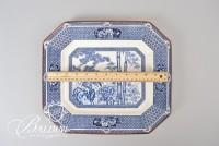 Blue and White Asian Export Platter with Mark