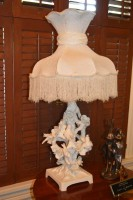 Solid White Porcelain Lamp Featuring Birds with Fringed Lampshade
