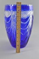 """Irena"" Blue Bohemian Cut to Clear Crystal Large Vase"