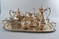 """Heritage"" 1847 Rogers Bros. Silverplate Tea Service on Tray"