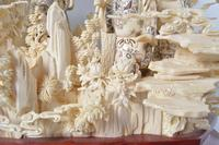 Asian Export Heavily Carved Bone and Resin Statuary
