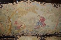 Antique Victorian Sofa with Elaborate Needlepoint Tapestry Scene, CA 1880