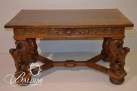 Renaissance Revival Library Table With Carved Lions Late 19th Century