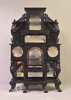 Antique Exotic Wood Etagere with Carved Cranes