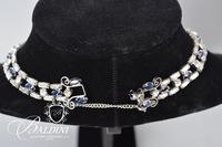 Blue and White Rhinestone Necklace and Bracelet