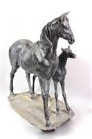 "Life Size Horse Statuary Believed to be Bronze, by ""Kathy"""