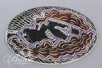 "Paul Harmon ""Profile"" Ceramic Oval Platter, Signed and Dated 1990"