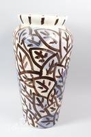 Large Brown/Cream/Blue Ceramic Urn, Signed and Dated 1989