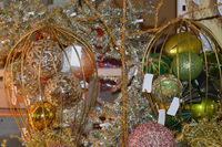 7' Lighted Slim Tree, Beaded Balls and Stockings