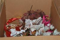 25+/- Boxes of Asian Style Candle Holders, Bronze Glitter Pinecones and Other Items