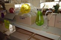 175+/- Assorted Purple and Clear Glass Lanterns, Hydrangea Flowers and Balloon Shape Hanging Ornaments