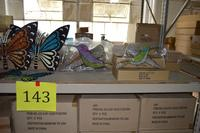 100+/- Fuschia Glass Lanterns and Butterfly Glitter Hangings