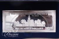 Sterling Silver Proof $100 Bill with COA