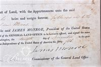 1822 James Monroe Presidential Land Title Granted For Military Service, Signed