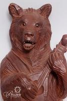 Carved Bear Playing Music Whip Holder - Possibly Black Forest
