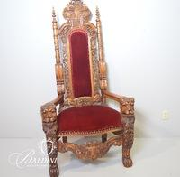 Heavily Carved Gothic Reproduction Chair with Lions and Paw Feet