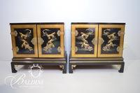 Pair Painted Asian Cabinets
