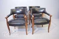 (6) Mid Century Ephraim Marsh Library Office Chairs with Brass Stud Details