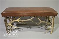 Horn Bench with Leather Seat