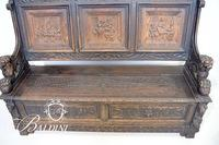Important 1880's Victorian Monk/Deacon's Bench Heavily Carved with Lift Seat