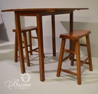 Drop Leaf Wood Cafe Table with 2 Bar Stools