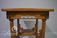 Pierced Oak Side Table with Scrollwork and Brass Accents