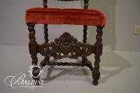 Red Upholstered Side Chair with Turned Wood and Cherub Accents