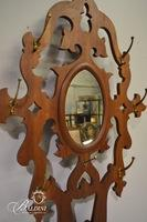 Victorian Hall Tree with Pierced Back, Oval Mirror and Drip Trays