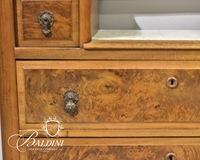 Victorian Marbletop Dresser with Mirror and Candle Shelves - Crack in Marble