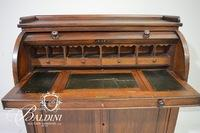 Cylinder Desk with Pull Out Tooled Leather Top Writing Desk