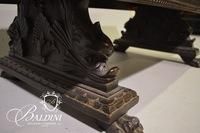 Heavily Carved Empire Solid Wood Low Table with Dolphin Accents on Carved Paw Feet