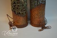 Pair of Brutalist Metal Lamps