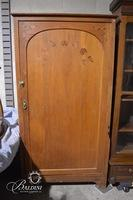 Tall Solid Wood Single Door Cabinet with Wood Inlay Accents