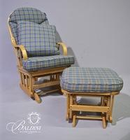 Blonde Wood Rocking Chair and Ottoman