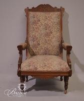 Carved Victorian Arm Chair with Floral Upholstery